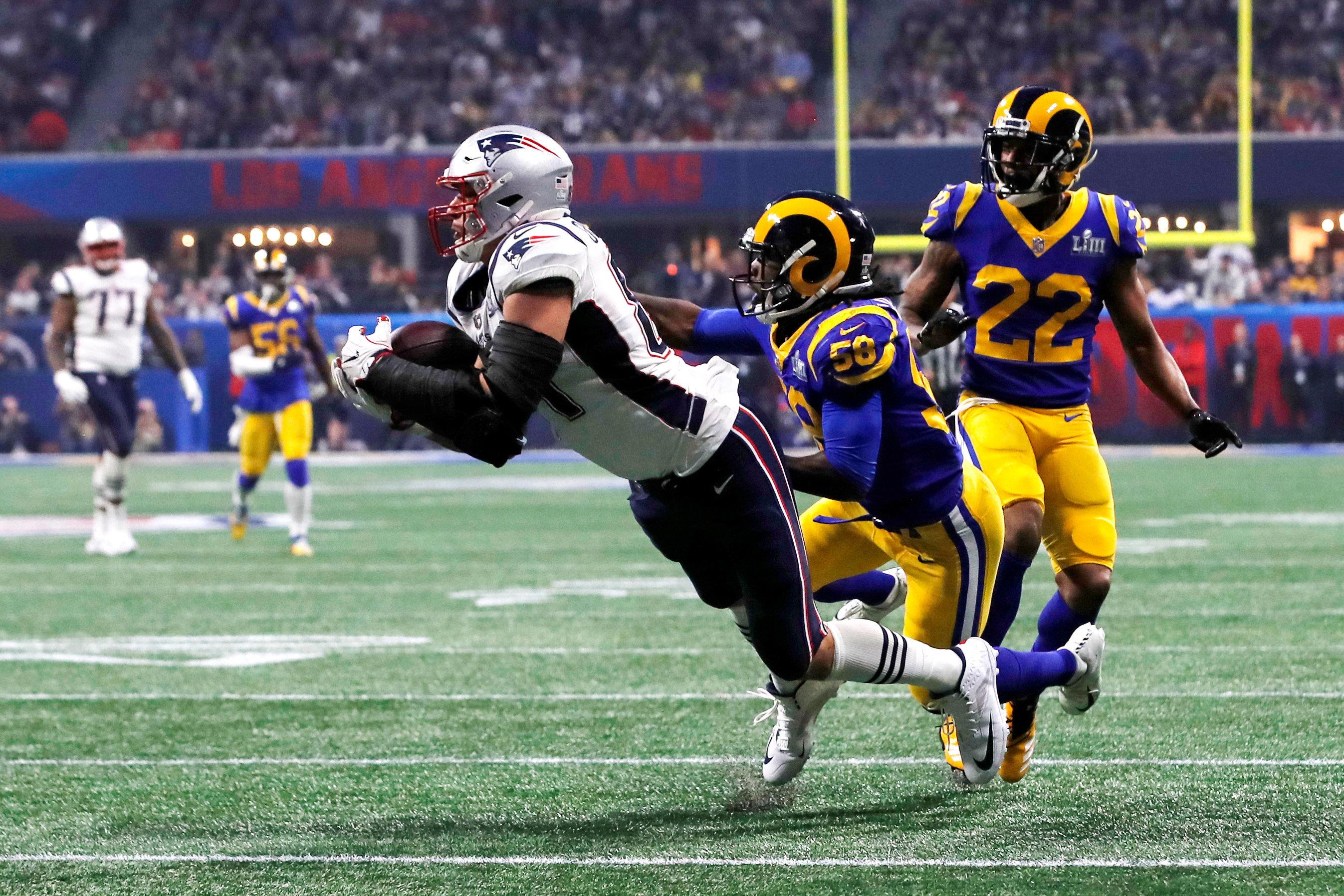NFL Football - Super Bowl LIII - New England Patriots v Los Angeles Rams - Mercedes-Benz Stadium, Atlanta, Georgia, U.S. - February 3, 2019. New England Patriots' Rob Gronkowski makes a catch during the fourth quarter. REUTERS/Mike Segar
