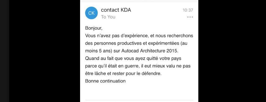 Un architecte syrien réfugié en France postule pour un job et se fait qualifier de