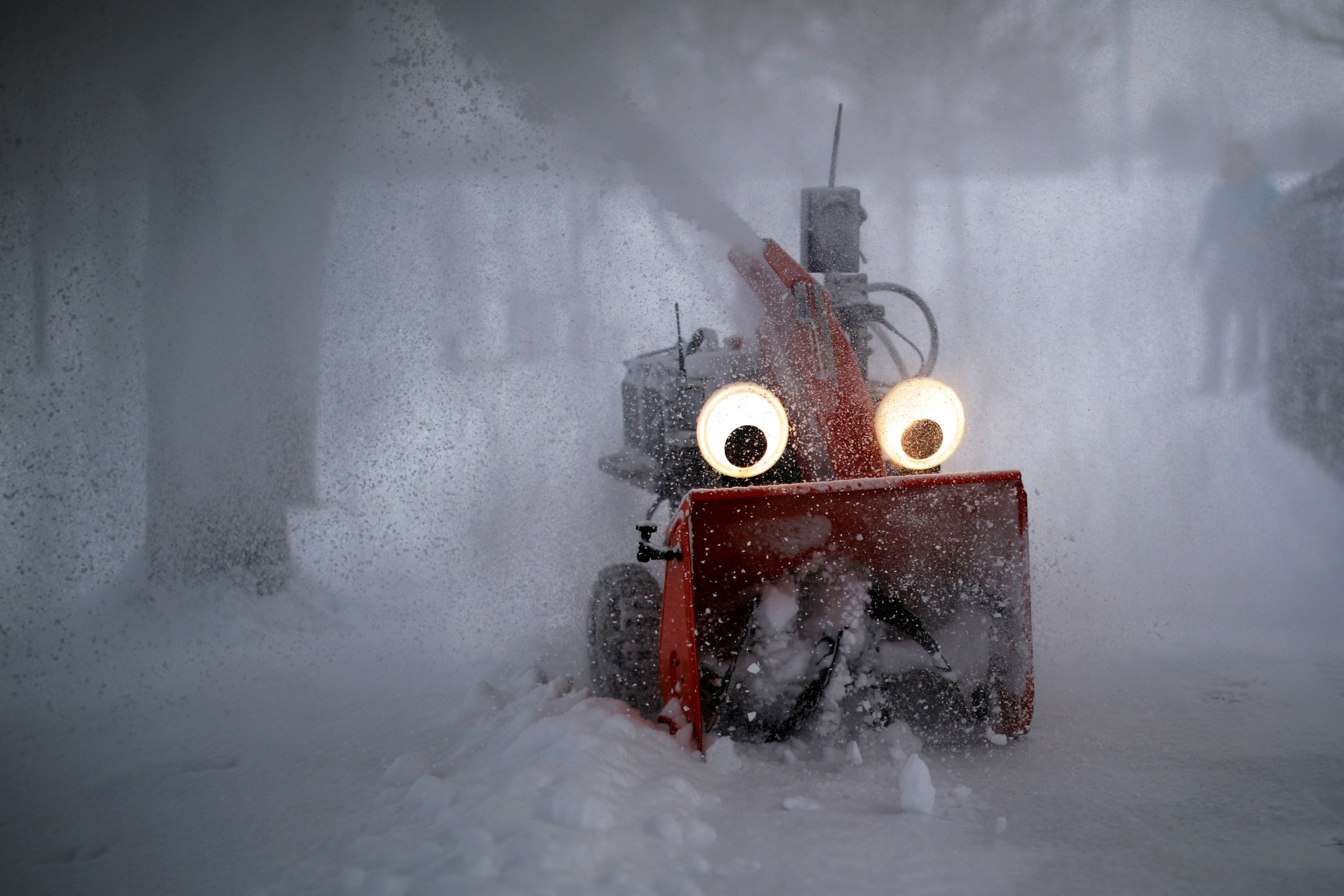 """Chomper,"" a semiautonomous, GPS-guided snow blower designed and built by MIT research engineer Dane Kouttron, clears snow fo"