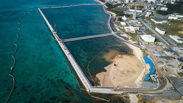 県民投票で埋め立ての是非が問われたの辺野古の新基地建設予定地=沖縄県名護市