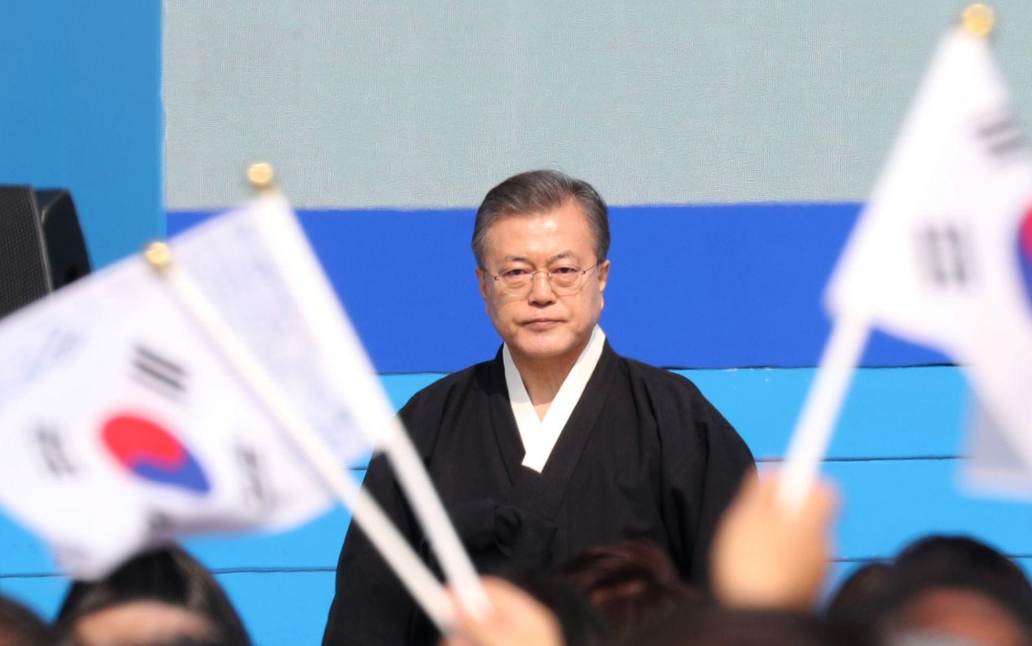 일본 자민당이 문대통령 3.1절 연설 중