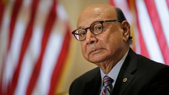 Khizr Khan prepares to speak at an event in Collingswood, N.J., Thursday, Oct. 26, 2017. The Gold Star father who has criticized President Donald Trump is campaigning in New Jersey for Phil Murphy, the Democratic candidate for governor. (AP Photo/Seth Wenig)