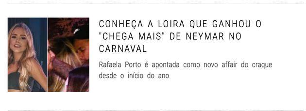 Manchete de site de celebridades mostra Neymar curtindo no