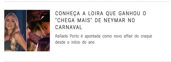 Manchete de site de celebridades mostra Neymar curtindo no Carnaval.
