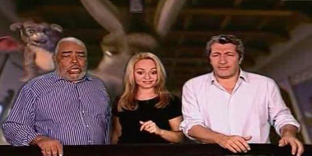 Med Hondo (ici à gauche, avec Barbara Tissier et Alain Chabat), qui faisait la voix de l'âne...