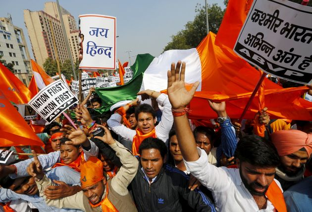 Activists from the Akhil Bharatiya Vidyarthi Parishad (ABVP) during a protest march in file