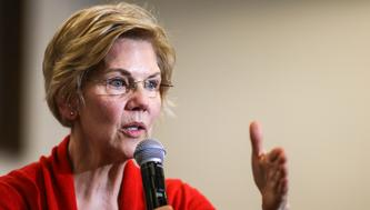PLYMOUTH, NH - FEBRUARY 23: U.S. Senator and presidential candidate Elizabeth Warren speaks at an event in the Heritage Commons at Plymouth State University in Plymouth, NH on Feb. 23, 2019. (Photo by Nathan Klima for The Boston Globe via Getty Images)