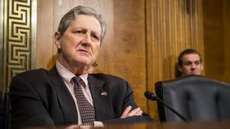 WASHINGTON, DC - DECEMBER 11: Sen. John Kennedy (R-LA) questions Commissioner of Customs and Border Protection Kevin McAllenan during a Senate Judiciary Committee hearing on December 11, 2018 in Washington, DC. McAleenan answered questions about the Trump administration's immigration policies. (Photo by Zach Gibson/Getty Images)