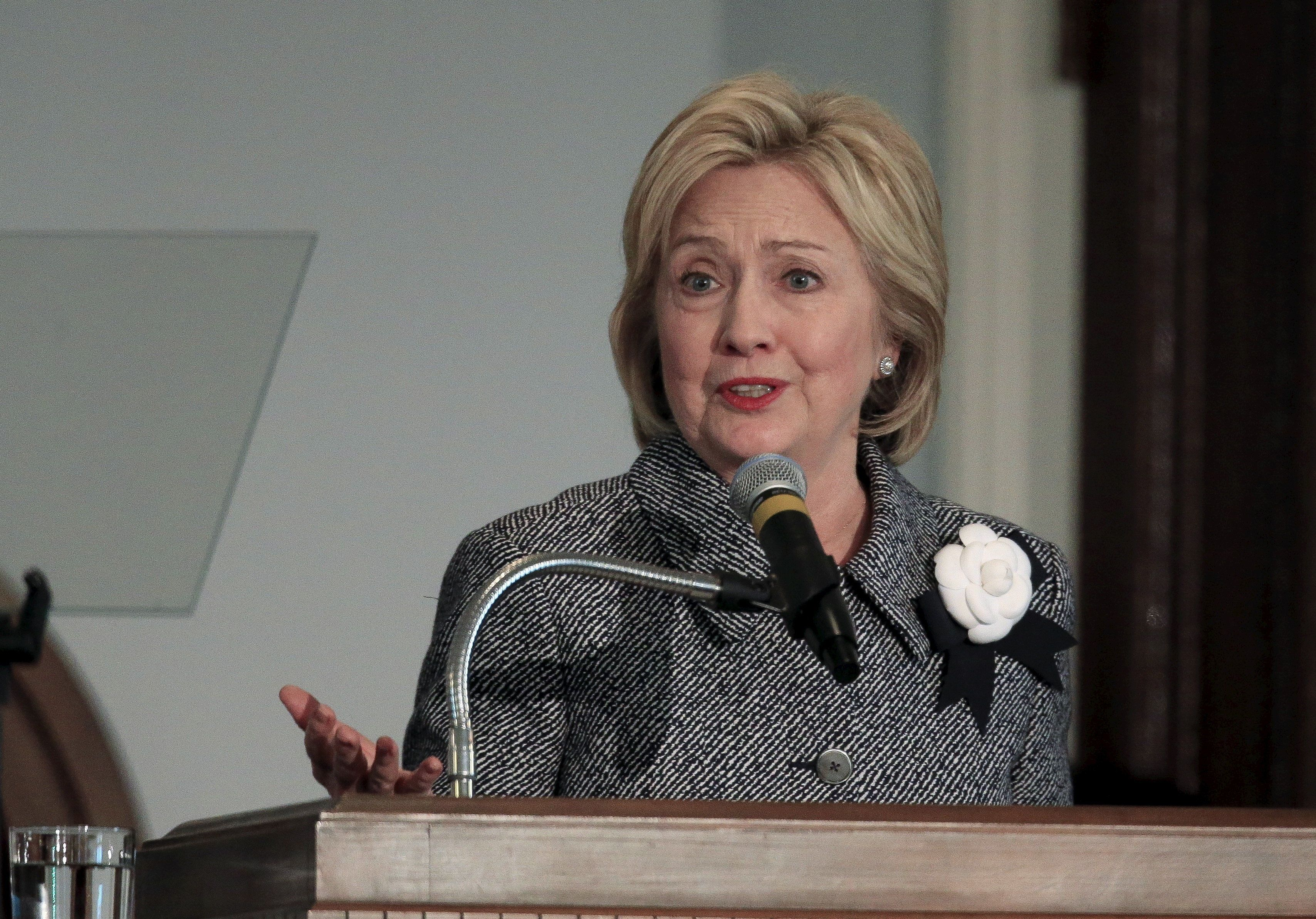 U.S. Democratic presidential candidate Hillary Clinton speaks at the National Bar Association's 60th Anniversary of the Montgomery Bus Boycott at the Dexter Avenue Baptist Church in Montgomery, AL, December 1, 2015   REUTERS/Marvin Gentry