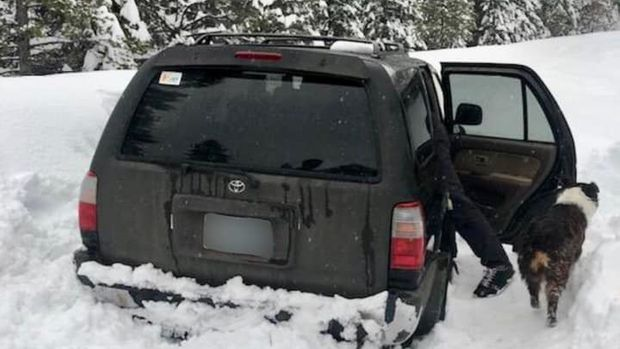 An Oregon man and his dog were rescued after their SUV became stuck in snow for nearly five days.