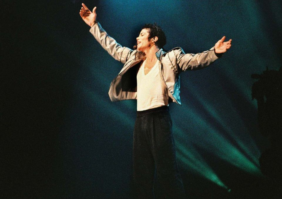 "Michael Jackson at London's Wembley Stadium during his 1992 ""Dangerous"" tour."