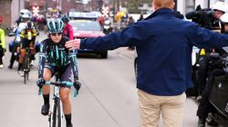 Female Cyclist Forced To Stop When She Nearly Catches Male Racers After Their Head