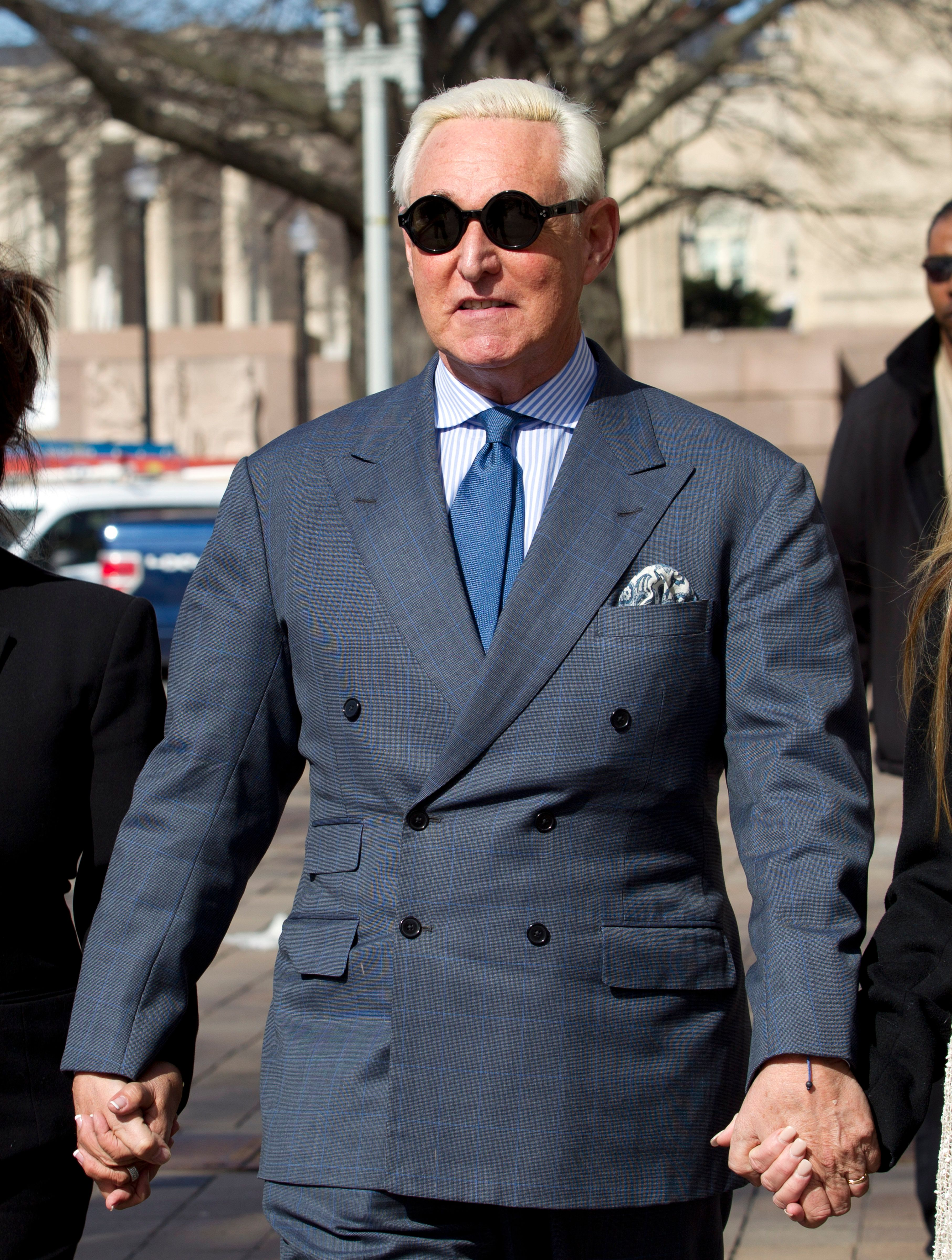Former campaign adviser for President Donald Trump, Roger Stone arrives at federal court in Washington, Thursday, Feb. 21, 2019. Stone was ordered to appear in court over a Instagram post he made about U.S. Judge Amy Berman Jackson. (AP Photo/Jose Luis Magana)