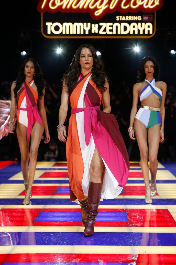 Veronica Webb (center) walks with fellow models down the runway.