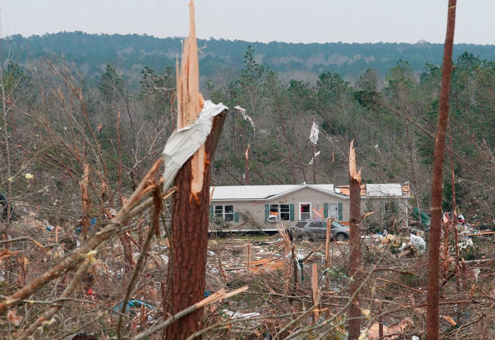 Damage from tornadoes in Beauregard.