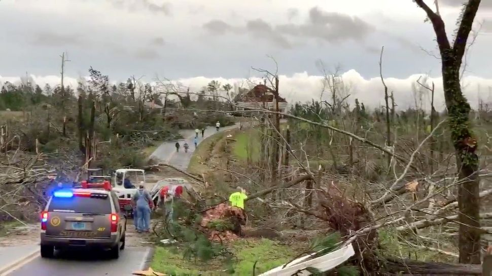 People clear fallen trees and debris on a road following tornadoes in Beauregard.