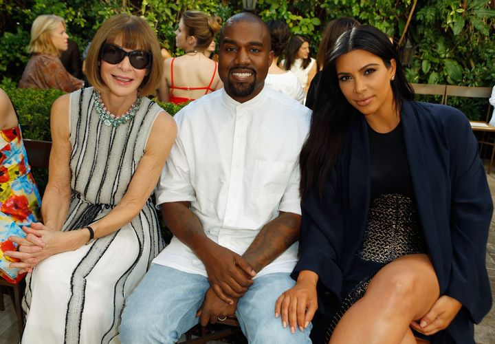 Anna Wintour, Kanye West and Kim Kardashian attend CFDA/Vogue Fashion Fund Show and Tea at Chateau Marmont on Oct. 20, 2015 i