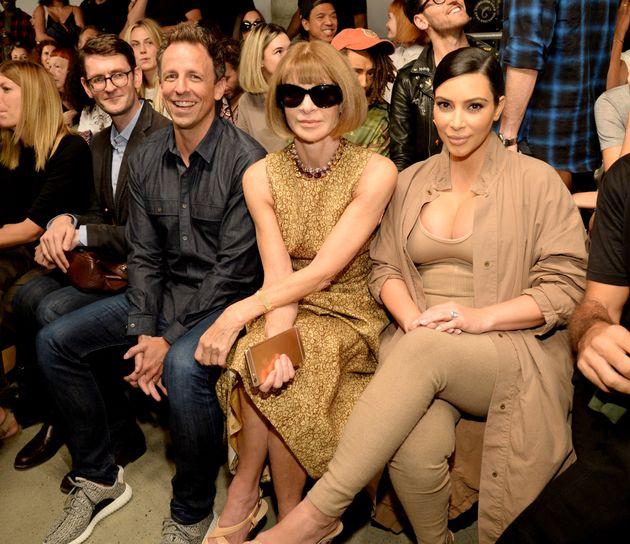 Seth Meyers, Anna Wintour, Kim Kardashian West and North West attend Kanye West Yeezy Season 2 during...