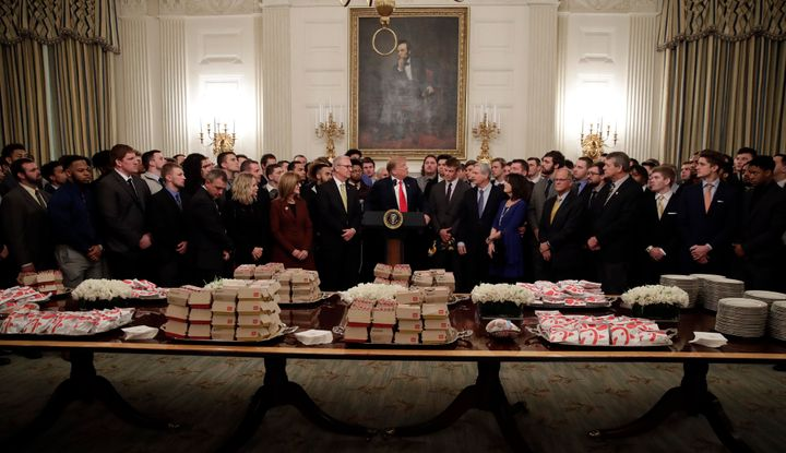 Trump presents a fast-food feast to the Bison football team, which was celebrating its seventh Football Championship Sub