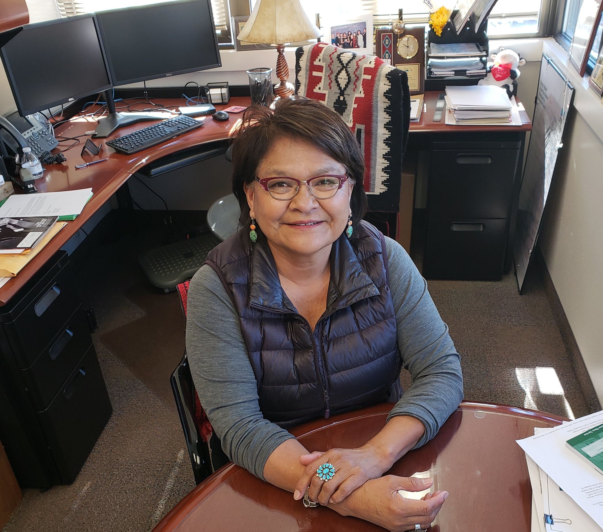Coconino County Supervisor Lena Fowler in her Flagstaff, Arizona, office. She grew up on the Navajo reservation and is pushin