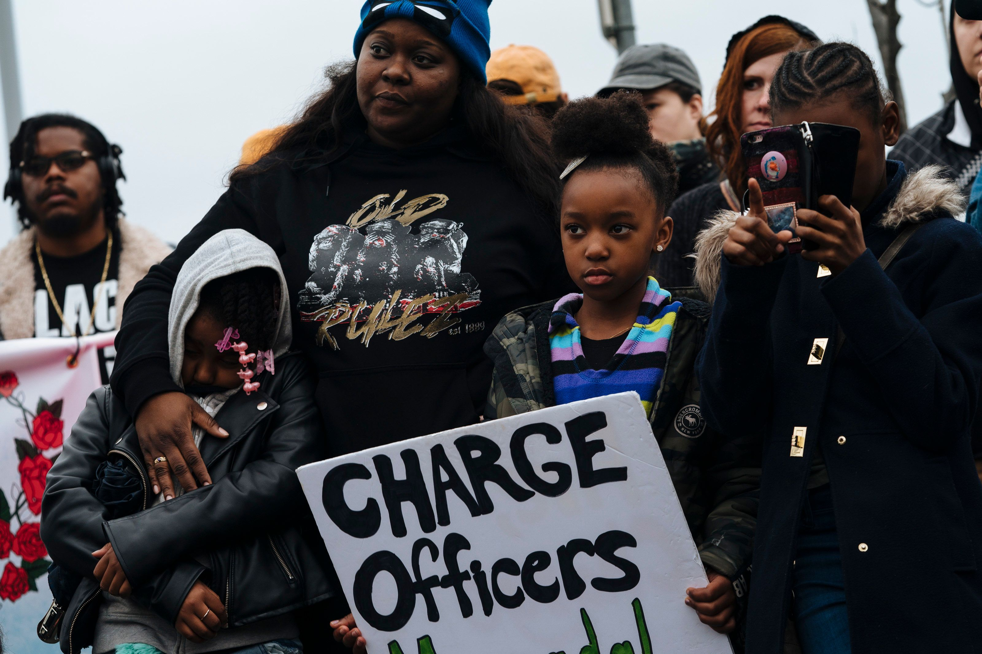 Demonstrators gather outside of the Sacramento Police Department on March 2, 2019, after District Attorney Anne-Marie Schuber