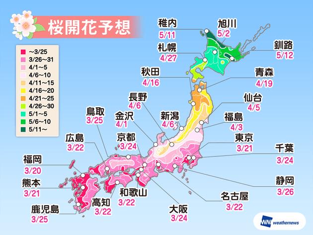 2019年、桜の開花予想。上野公園は3月末からお花見OK、一部名所では遅れも