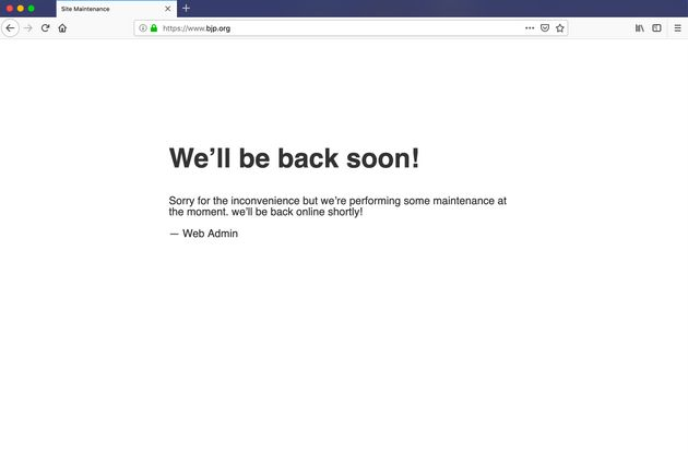 'We'll Be Back Soon': BJP Website Down, Was Reportedly
