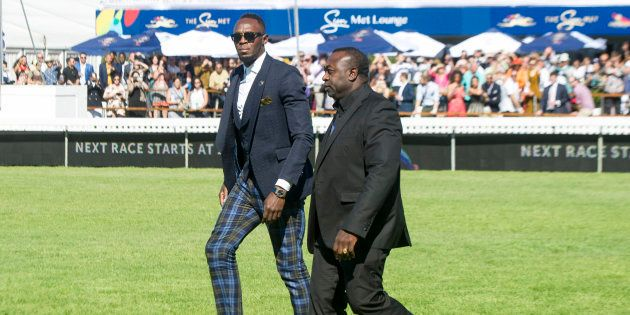 Olympic and Jamaican sprinter Usain Bolt arrives at the 2018 Sun Met Celebrated with G.H. Mumm at Kenilworth...