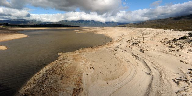 A general view of Theewaterskloof Dam on January 25, 2018 in Villiersdorp, South