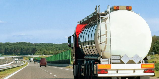 Tanker storage truck on the road of