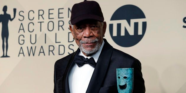 Morgan Freeman poses with the 54th annual Screen Actors' Guild Life Achievement