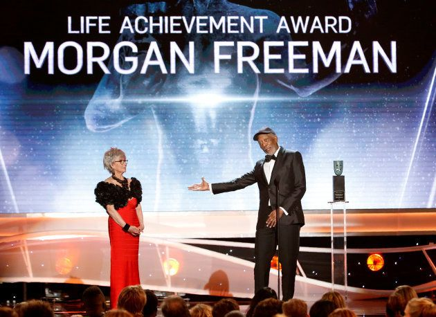 Actor Morgan Freeman accepts the Life Achievement Award from actress Rita Moreno. REUTERS/Mario Anzuoni...