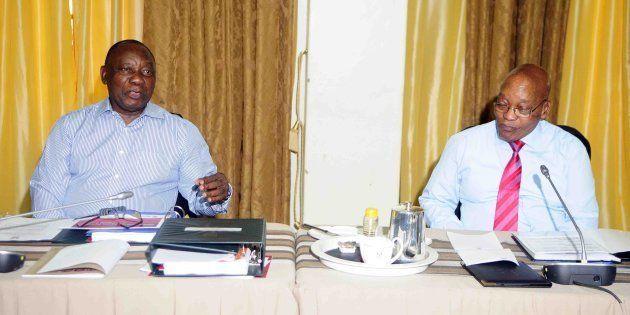 Deputy President Cyril Ramaphosa and President Jacob Zuma before the start of the Cabinet lekgotla on...