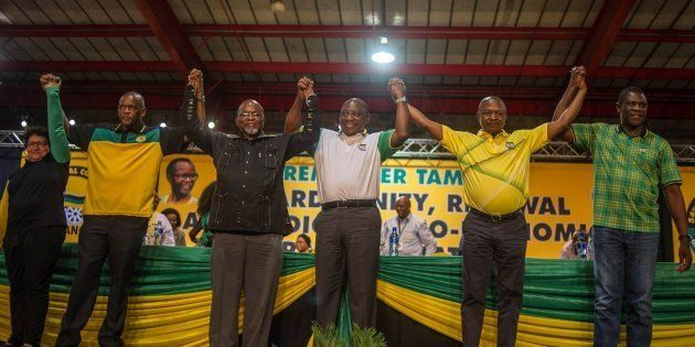 The ANC's top six leaders after they were elected at the party's national conference last