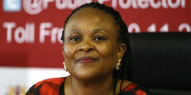 Public protector Busisiwe Mkhwebane during the release of her report on the inquiry into Nelson Mandela's...
