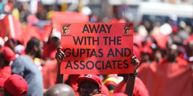 Cosatu members march against corruption and state capture on September 27, 2017 in