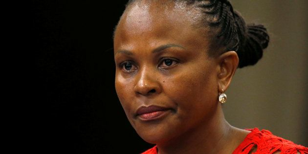 Public Protector Busisiwe Mkhwebane listens during a briefing at Parliament in Cape Town, South Africa...