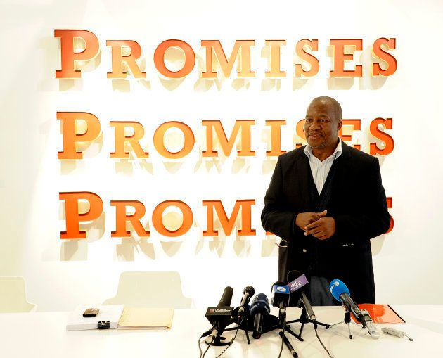 South Africa's ruling African National Congress (ANC) spokesman Jackson Mthembu gives a press conference...