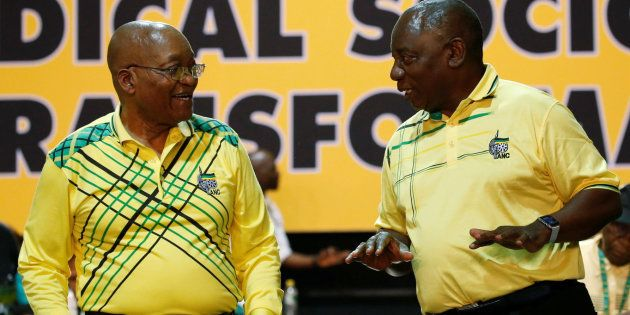 Deputy president Cyril Ramaphosa (R) chats with President Jacob Zuma during the 54th national conference...