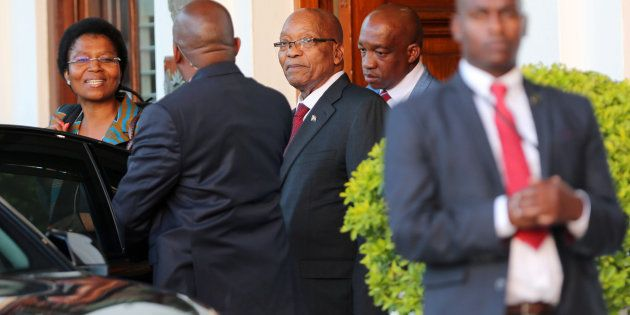 President Jacob Zuma leaves Tuynhuys, the office of the Presidency at Parliament in Cape Town, South...
