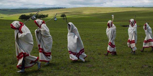 Xhosa initiates pass by close to the funeral of Nelson Mandela, Qunu, South Africa, 14 December