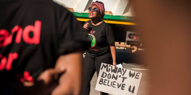 Black First Land First (BLF) members led by Andile Mngxitama and Zanele Lwaini protests outside MiWay...