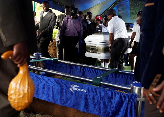 Pallbearers carry the coffin of Movement For Democratic Change (MDC) leader, Morgan Tsvangirai, during...