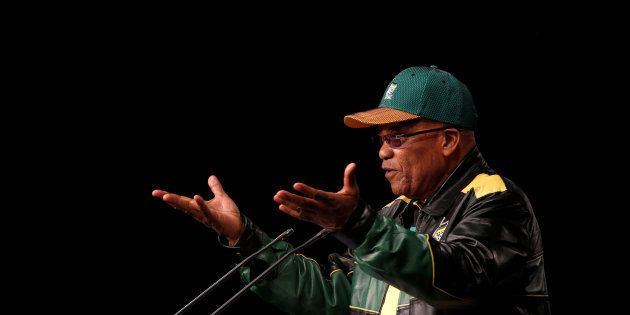 South Africa's President Jacob Zuma gestures during his opening address at the African National Congress...