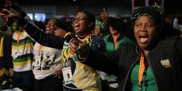 Delegates sing during the African National Congress 5th National Policy Conference at the Nasrec Expo...