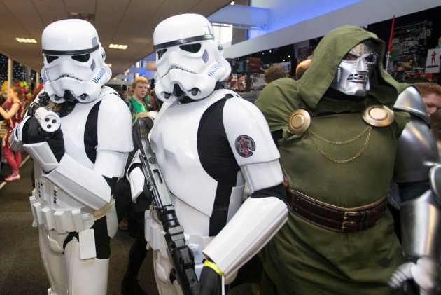 People in Stormtrooper costumes at Edinburgh's Corn Exchange on the first day of Capital Sci-Fi Con,...
