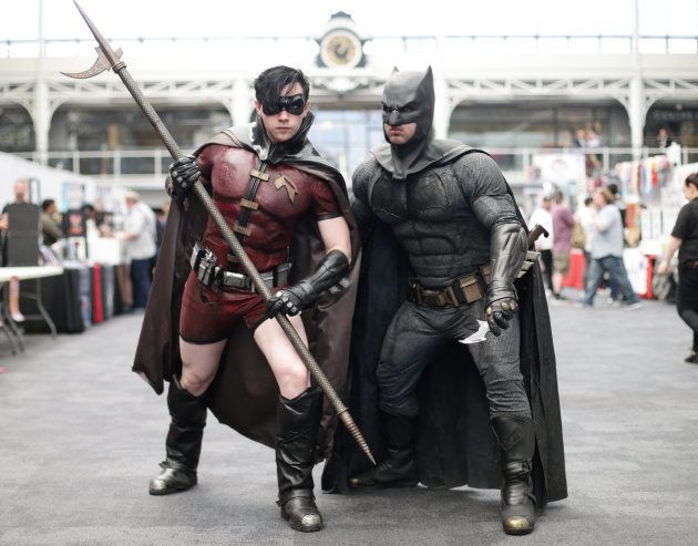 John Ralls as Robin (left) and Sean Campbell as Batman at the London Super Comic Con, at the Business...