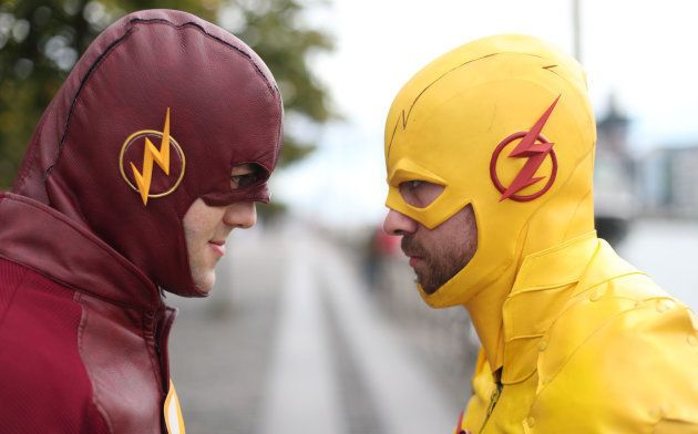 (left to right) Cairan O'Rielly as the Flash and Jay McKeown as the Reverse Flash, at the annual Comic...
