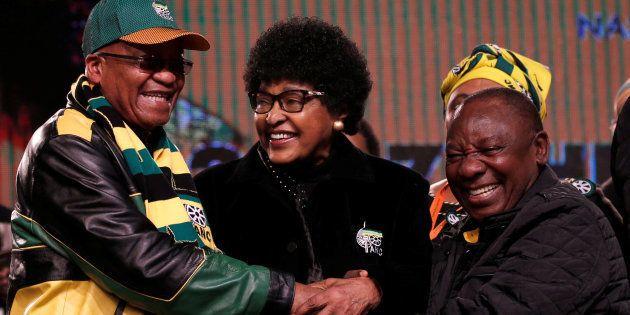 Jacob Zuma, Winnie Madikizela-Mandela and Cyril Ramaphosa ahead of the