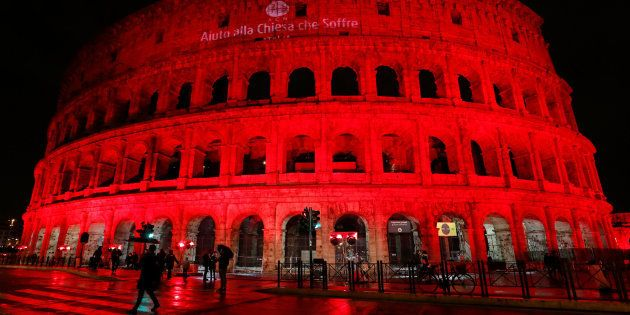 The Colosseum is lit up in red to draw attention to the persecution of Christians around the world in...